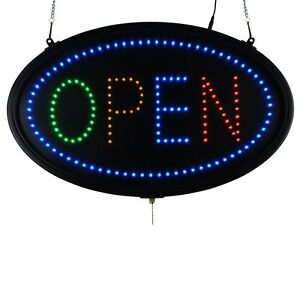 Led Sign Open Large Oval Display Led Neon 22 X 14 Bright Four Colors