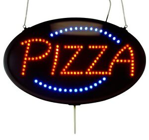 Led Sign Ultra Bright Pizza Large Oval Display 23 X 14 Indoor Use