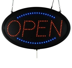 Led Sign Ultra Bright Open Large Oval Display Light Neon23 X 14 Indoor Use