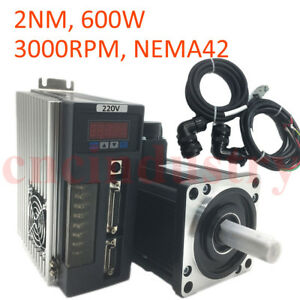 2nm 600w Ac Servo Motor Driver Kit 3000rpm Nema42 Encoder Power Cable Kit