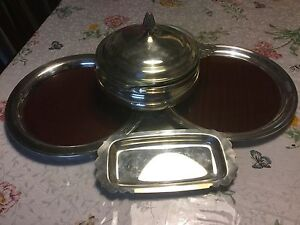 Lot Of 6pc Silver Plated Wm A Rogers Serving Tray And More