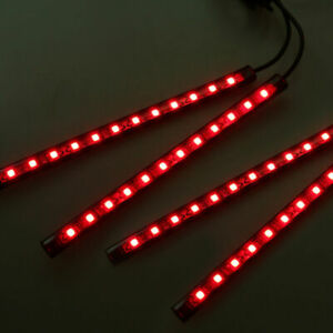 Red 12 Led Car Auto Interior Footwell Decor Atmosphere Neon Light Bars Strip 12v