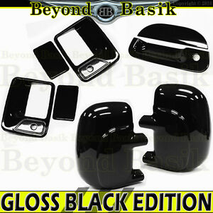 99 07 Ford F250 Std ext Gloss Black Door Handle Covers Wpsk mirrors tailgate Wkh