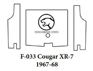 1967 1968 Mercury Cougar Trunk Rubber Floor Mat Cover With F 033 Cougar Xr 7