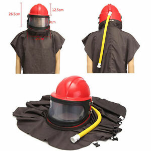 Sandblast Sand Blasting Helmet Abrasive Shot Protective Hood With Air Fed Tube