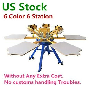 Usa 6 Color 6 Station Screen Printing Machine T shirt Press Printing Carousel