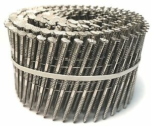 Stainless Steel Siding Nails type 304 15 Wire Coil 8d 2 1 2 X 0 92 3600pcs