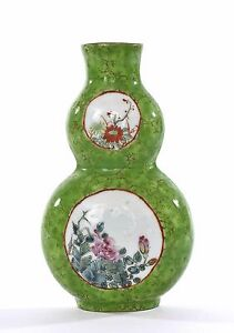 Old Chinese Apple Green Famille Rose Porcelain Gourd Wall Vase Chocolate Rim Mk