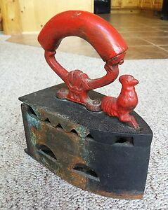 Antique Cast Iron Coal Fired Clothes Press Red Rooster Latch Curved Wood Handle