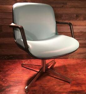 Blue Vintage Steelcase Industrial Tanker Desk Mid Century Retro Chair Unique