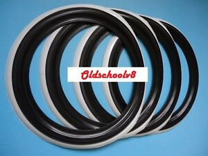 R15 Black White Wall Port A Wall Tire Insert Trim Set 4 Pcs Free Ship Via D H L