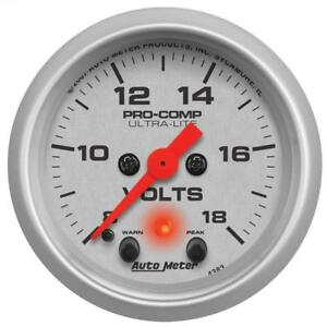 Auto Meter Voltmeter Gauge 4383 Ultra lite 8 To 18 Volts 2 1 16 Electrical