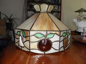 Vintage Leaded Stained Glass Hanging Light Fixture Slag 20 Diameter 15 Tall