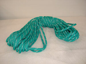 Double Braid Polyester Line 7 16x100 Ft Yacht Braid Teal Green W Tracer Halyard