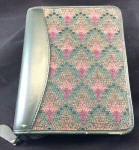 Franklin Quest covey Green Leather tapestry Compact 1 25 Rings Planner Binder