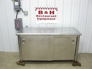60 X 24 Stainless Steel Two 2 Door Heavy Duty Cabinet Work Prep Table 5 X 2