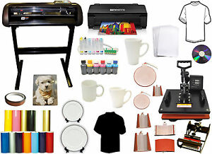 8in1 Combo Heat Press metal Vinyl Cutter Plotter 13x19 Printer Ciss Ink Bundle