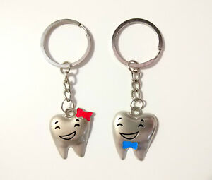 50 Pairs Teeth Shape Couple Key Chain Metal For Dentist Dental Clinic Gift