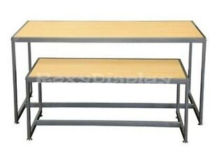 Light Maple Color Table Set With Matte Silver Frame Racks Stands rk ta2nr