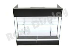 Black Ledgetop Counter Display Showcase Store Fixture Knock Down sc ltc gl4bk