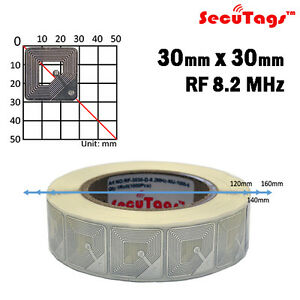 Eas Anti Theft Security Checkpoint Square Tag Rf Silver 8 2mhz 1000pcs 30x30mm