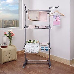 Hanger Clothes Drying Rack Rolling Hanging Garment Clothes Laundry Collapsible