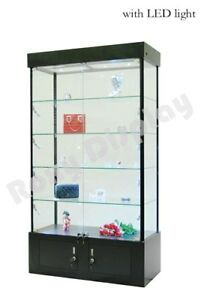 Tower Rectangular Black Display Showcase Store Fixture Assembled W lights wl40bk