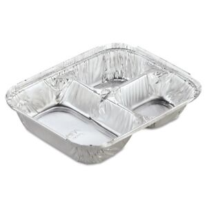 Aluminum Oblong Container With Lid 3 compartment Hfa 204535 250w