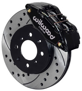 Wilwood Disc Brake Kit Front Stock Replacement Honda Drilled Rotors Black Cal