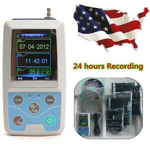 Handheld Ambulatory Blood Pressure Holter Bp Ecg Ekg 3cuffs Software Abpm50 Us
