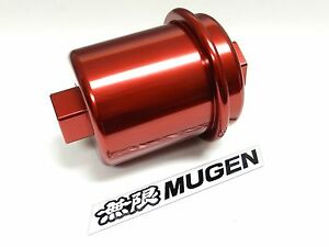 Red Racing High Flow Washable Fuel Filter For Acura Integra B18 Jdm Emblem D
