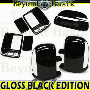 99 07 Ford F250 Gloss Black 2 Door Handle Covers W psk mirror W ts tailgate