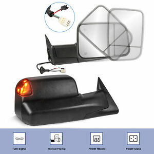 Towing Mirrors Power Heated Led Signal Lights For Dodge Ram Lh Rh 1998 2002