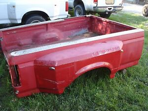 92 97 Ford F 350 Dually Truck Bed Box 8 Foot Long Red Diesel Oem