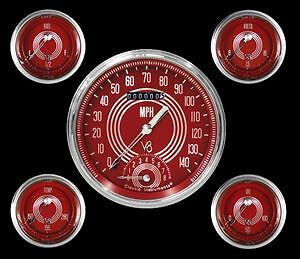 Classic Instruments Speedster Series 5 Gauge Set Speedtach Red Steelie V8rs65slc