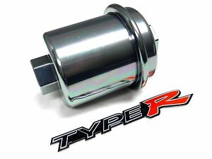 Silver Racing High Flow Washable Fuel Filter For Acura Integra B18 Jdm Emblem