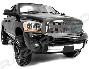Front Hood Chrome Mesh Grille outer Shell For 06 08 Dodge Ram 1500 2500 3500