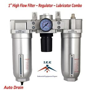 1 Heavy Duty High Flow Combo Filter Regulator Lubricator Clean Air Tools Auto