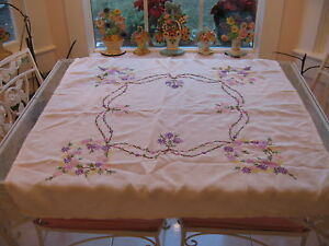 Beautiful Vintage White Square With Embroidered Floral Linen Tablecloth Cover