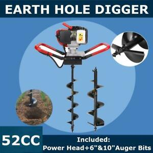 One Man 56cc Gas Power Auger Post Hole Digger Engine 6 10 Drill Bits