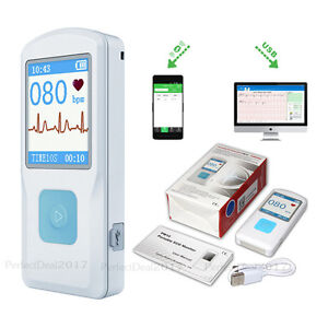 Us Stock portable Ecg Ekg Monitor hr Monitor With Usb bluetooth finger Touching