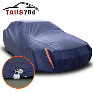 Car Cover Waterproof Windproof Outdoor All Weather Protection Fit Sedan W Lock