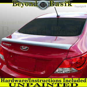 For 2012 2016 Hyundai Accent 4dr Lip Factory Style Trunk Spoiler Wing Unpainted