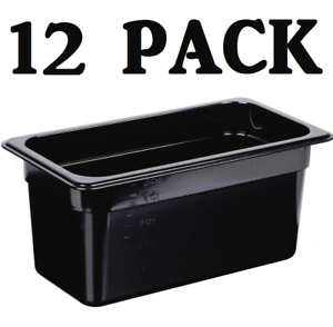 12 Pack 1 3 Size Polycarbonate Black Plastic Steam Prep Table Food Pan 6 Deep