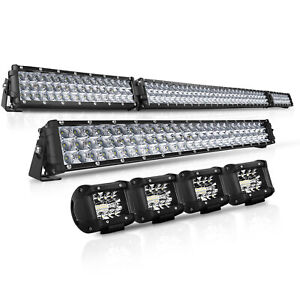 52inch Led Light Bar Combo 22 4 Cree Pods Offroad Suv 4wd Ford Jeep 20 32