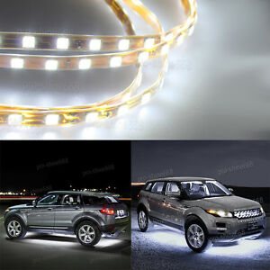 4pcs 6000k White Led Strip Under Car Underglow Underbody System Neon Light Kit T