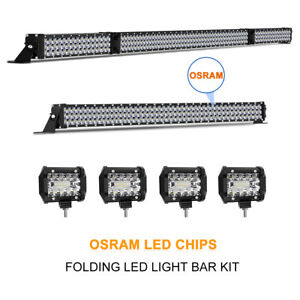 42 Inch Led Light Bar Combo 22in 4 Cree Pods Offroad Suv 4wd Ford Jeep 20 30