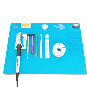 Silicone Pad Desk Mat Maintenance Platform Heat Insulation Bga Soldering Blue