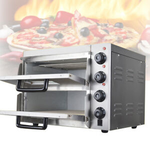 220v Commercial Double Deck Stone Pizza Oven Pizza Bread Making Machines