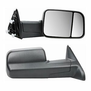 Manual Towing Side View Black Mirrors Pair For Dodge Ram Truck Pickup 2009 2017